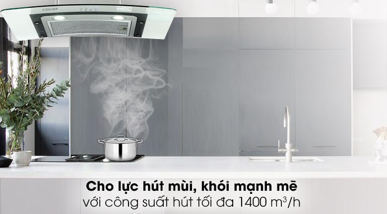 Máy hút mùi áp tường Kocher K-228T - Xử lý mùi nhanh với động cơ Tuabin 1 quạt, công suất hút lên đến 1400 m³/h
