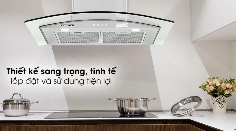 Máy hút mùi áp tường Kocher K-8870 - Máy hút mùi áp tường có kính vòm trong suốt, vỏ inox bền sáng, trẻ trung