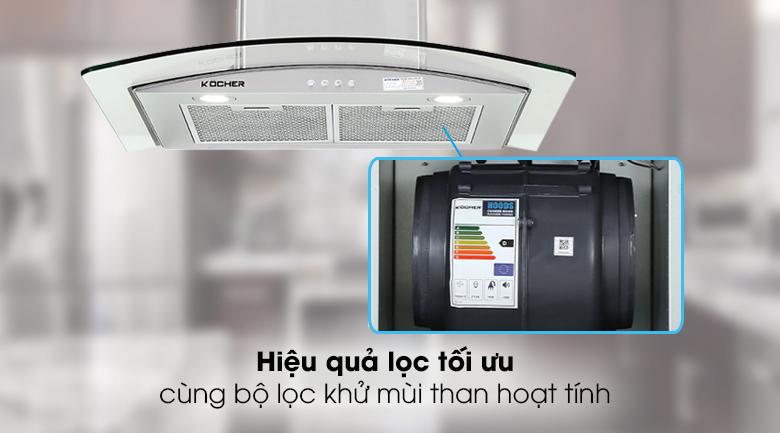 Máy hút mùi áp tường Kocher K-8870 - Khử mùi trong bếp dễ dàng với bộ lọc than hoạt tính