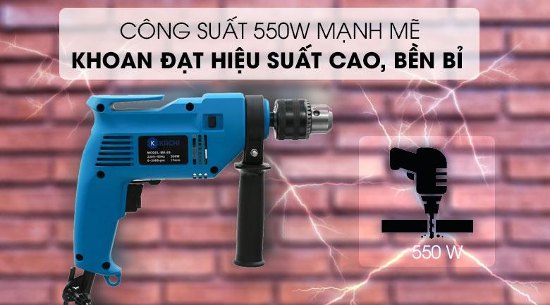 Công suất lớn giúp tăng hiệu quả làm việc - Bộ máy khoan đa năng Kachi K-19 550W 45 món