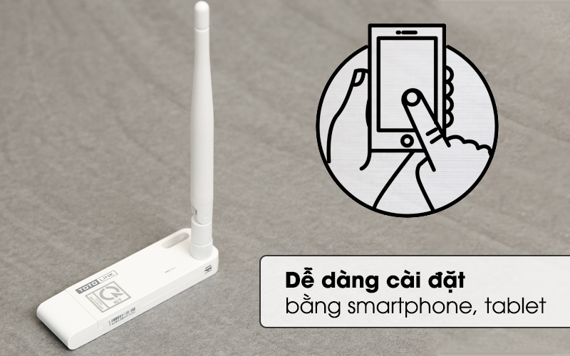 Bộ Mở Rộng Sóng Wifi Cổng USB Totolink EX100 trắng được cài đặt nhanh thông qua điện thoại