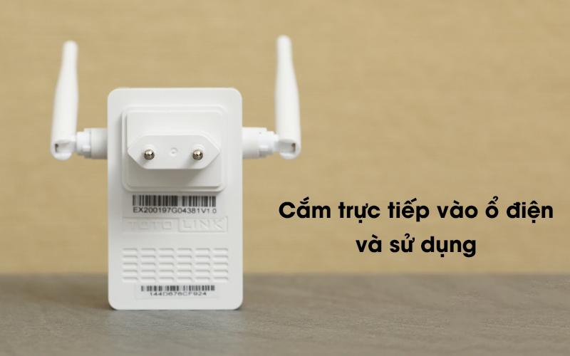 Bộ Mở Rộng Sóng Wifi AC220V Totolink EX200 trắng được cấp nguồn dễ dàng