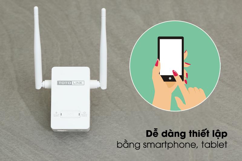 Bộ Mở Rộng Sóng Wifi AC220V Totolink EX200 Trắng dễ dàng thiết lập bằng điện thoại