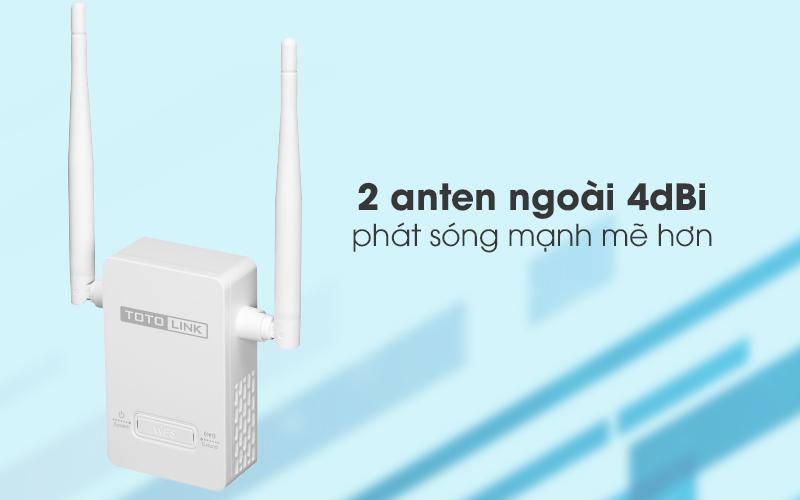 Bộ Mở Rộng Sóng Wifi AC220V Totolink EX201 trắng có 2 ăng-ten mạnh mẽ