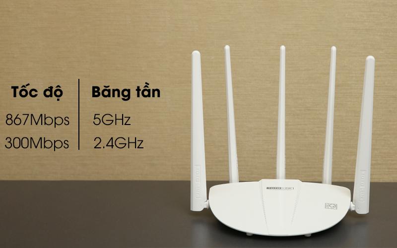 Bộ phát sóng Wifi Router chuẩn AC1200 Băng Tần Kép Totolink A810R trắng có tốc độ cao