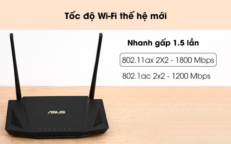 Tốc độ wifi nhanh - Router Chuẩn Wifi 6 Băng Tần Kép Asus AX56U Đen