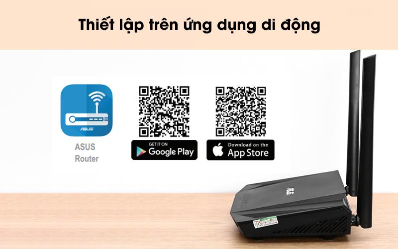 Thiết lập qua ứng dụng di động - Router Chuẩn Wifi 6 Băng Tần Kép Asus AX56U Đen
