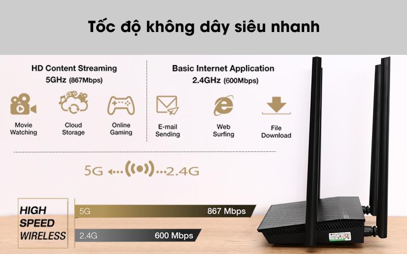 Tốc độ không dây siêu nhanh - Router Wifi Chuẩn AC1500UHP Băng Tần Kép Asus AC1500 Đen