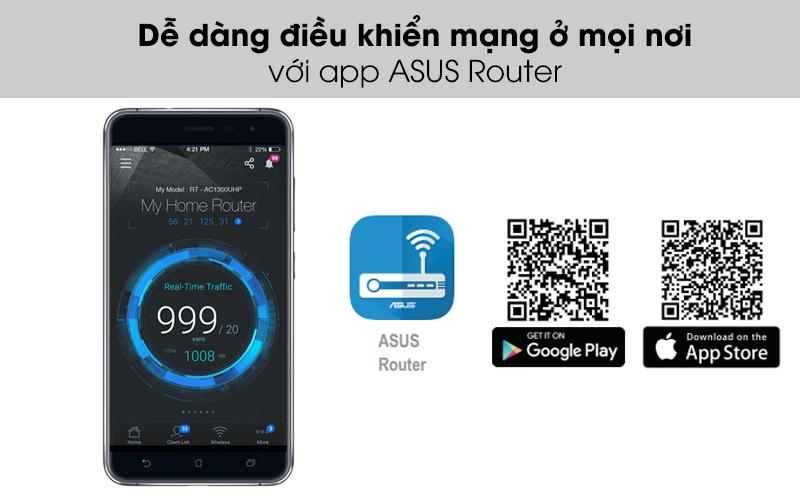 Dễ dàng điều khiển mạng ở mọi nơi với app ASUS Router - Bộ Phát Sóng Wifi Router Chuẩn AC1500UHP Băng Tần Kép Asus AC1500 Đen