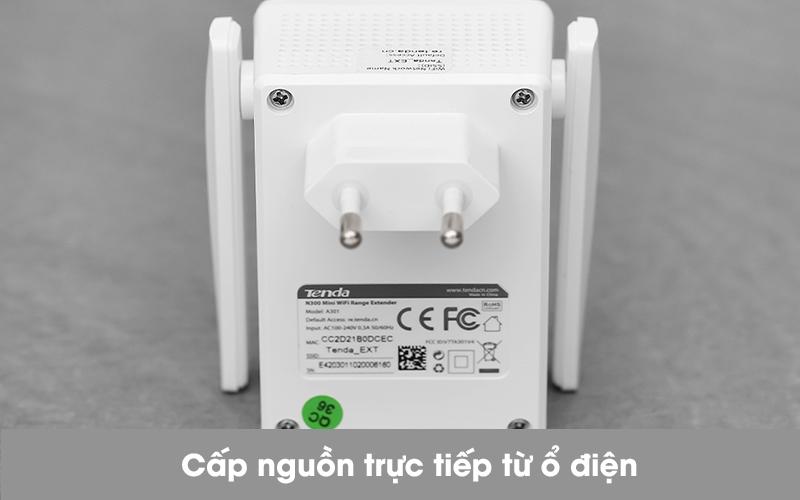 Repeater (bộ mở rộng sóng) Wifi Chuẩn N Tenda A301 Trắng - Phích cắm điện
