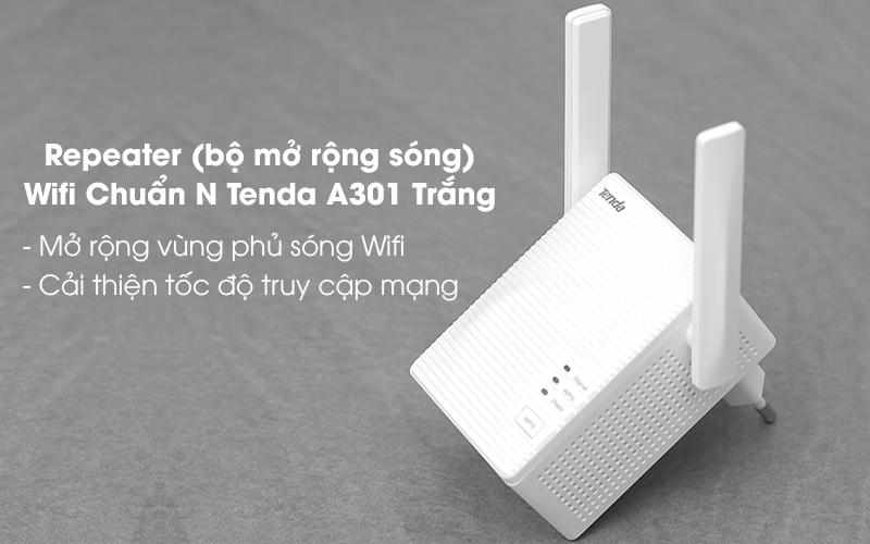 Repeater (bộ mở rộng sóng) Wifi Chuẩn N Tenda A301 Trắng