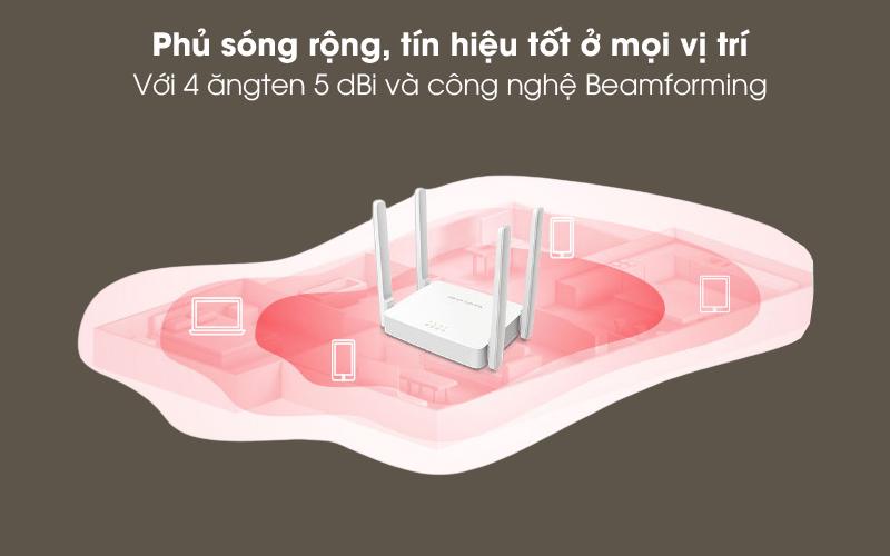 Phủ sóng rộng - Router Wifi AC1200 Băng Tần Kép Mercusys AC10 Trắng