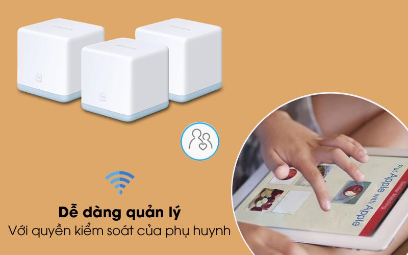 Quyền kiểm soát phụ huynh - Router Wifi Mesh 3 Pack AC1200 Mercusys Halo S12 Trắng