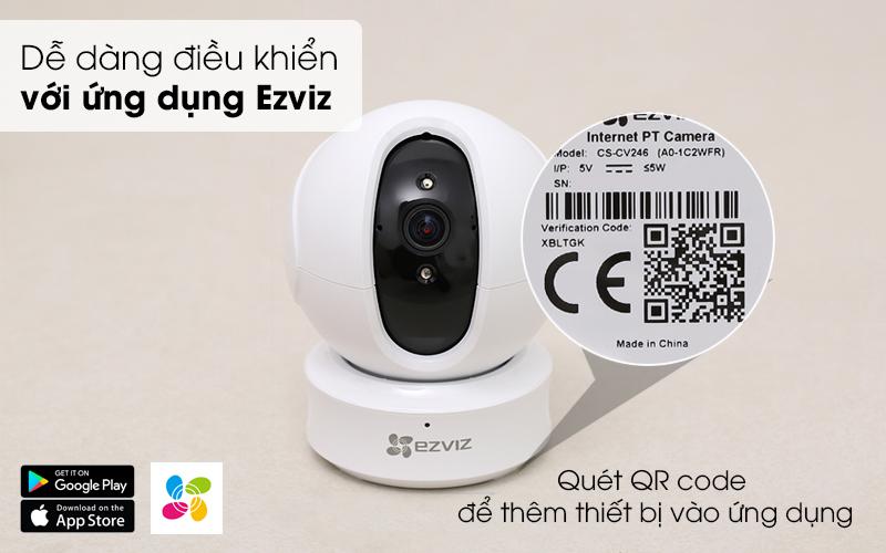 Dễ dàng điều khiển  với ứng dụng Ezviz - Camera IP 1080P EZVIZ CS-CV246 Trắng