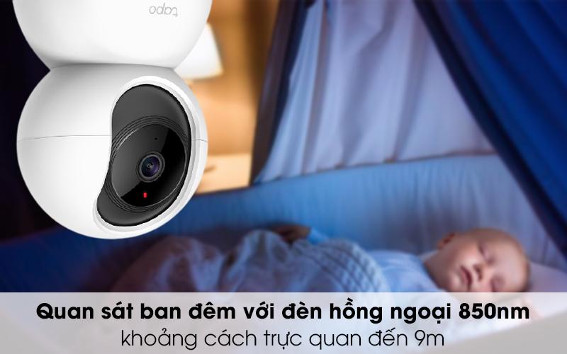 Giám sát tốt ban đêm - Camera IP 360 độ 1080P TP-Link Tapo C200 Trắng