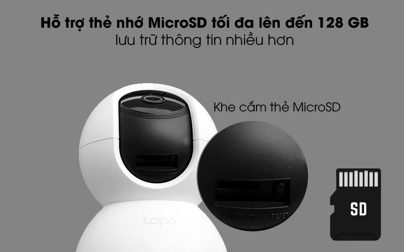 Khe cắm thẻ MicroSD - Camera IP 360 độ 1080P TP-Link Tapo C200 Trắng