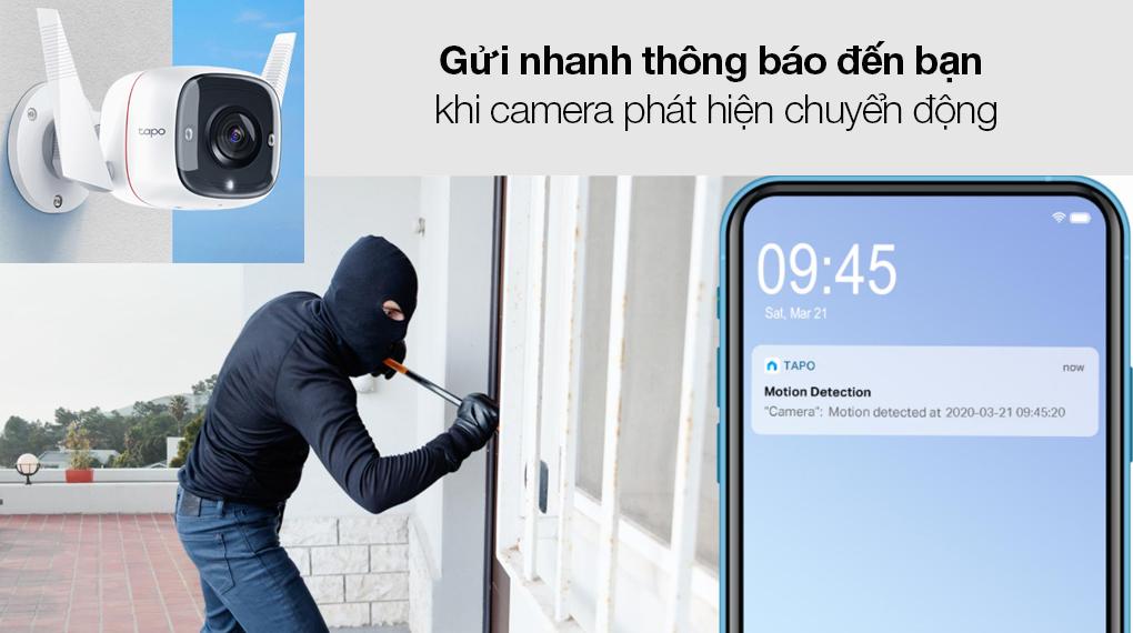 Camera Giám Sát Ngoài Trời 3MP TP-link Tapo C310 - Gửi thông báo, báo động tự động khi camera phát hiện chuyển động