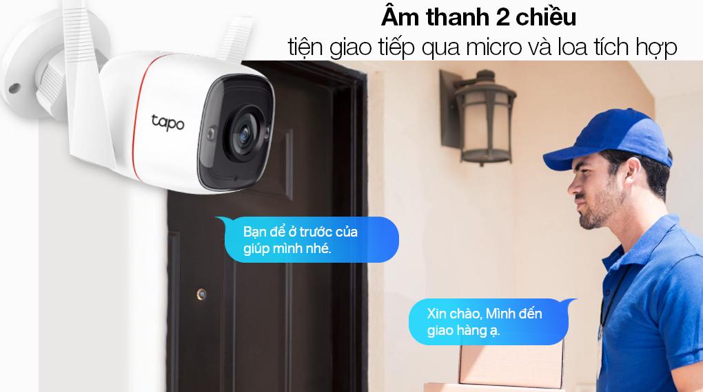 Camera Giám Sát Ngoài Trời 3MP TP-link Tapo C310 - Giao tiếp thông qua micro và loa tích hợp dễ dàng với âm thanh 2 chiều