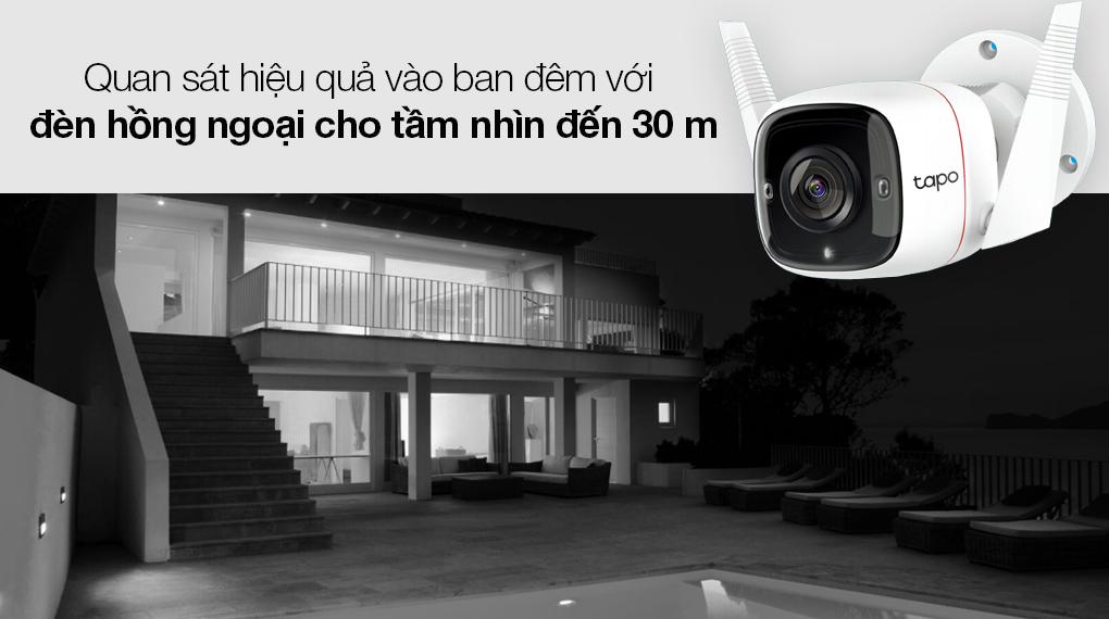 Camera Giám Sát Ngoài Trời 3MP TP-link Tapo C310 - Quan sát hiệu quả vào ban đêm với đèn hồng ngoại cho tầm nhìn xa đến 30 m