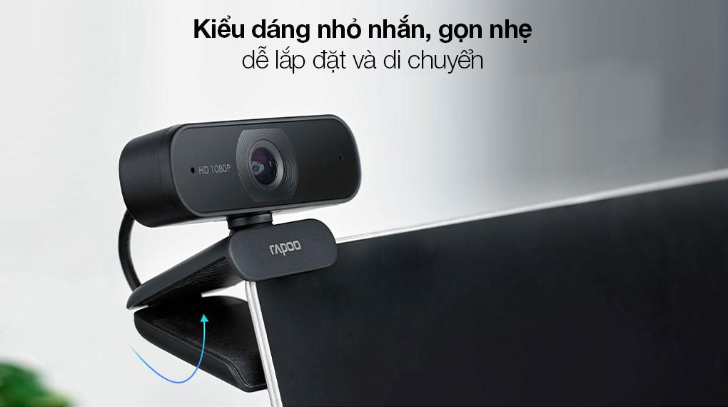 Webcam 1080p Rapoo C260 - Thiết kế sang trọng với kiểu dáng hiện đại, màu đen lịch lãm