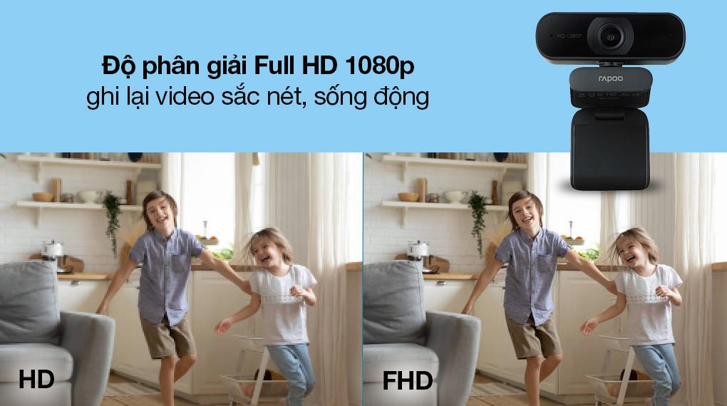 Webcam 1080p Rapoo C260 - Chất lượng video chuẩn Full HD 1080P