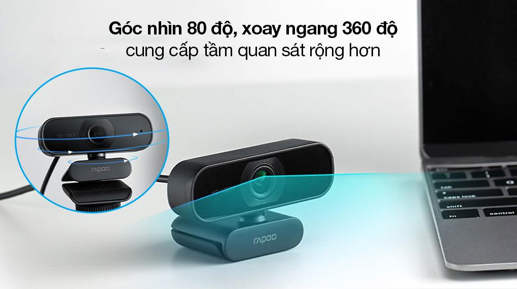 Webcam 1080p Rapoo C260 - Chia sẻ tầm quan sát rộng với góc nhìn 80 độ, góc ngang xoay 360 độ