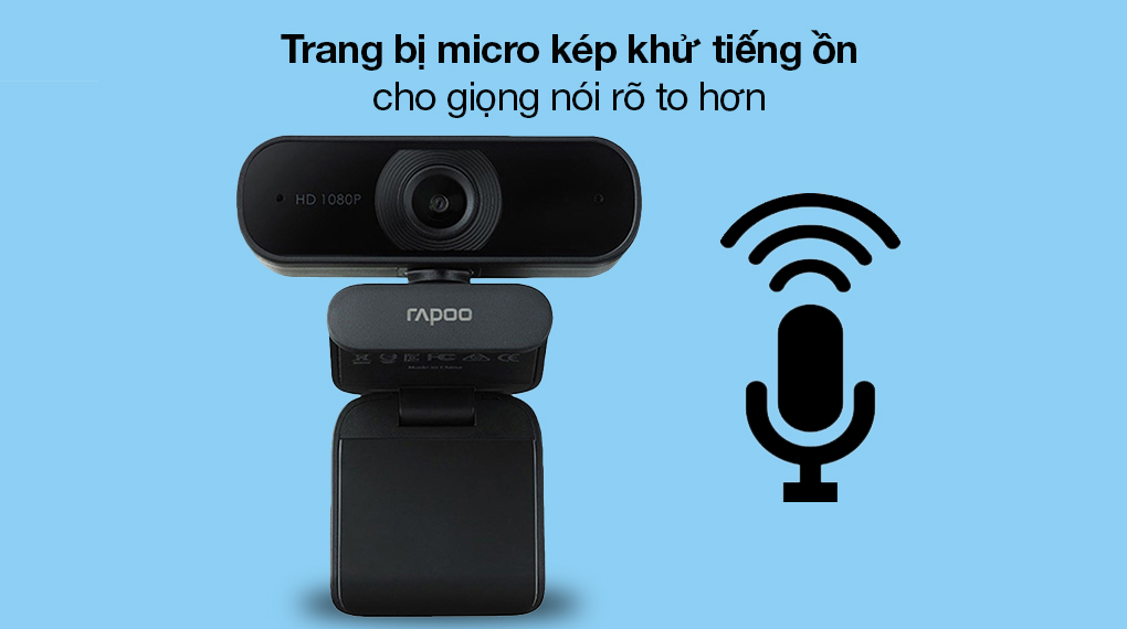 Webcam 1080p Rapoo C260 - Tích hợp micro kép khử tiếng ồn, trò chuyện từ xa thoải mái