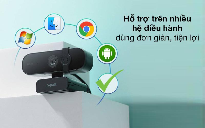 Hỗ trợ nhiều hệ điều hành - Webcam 1440p Rapoo C280