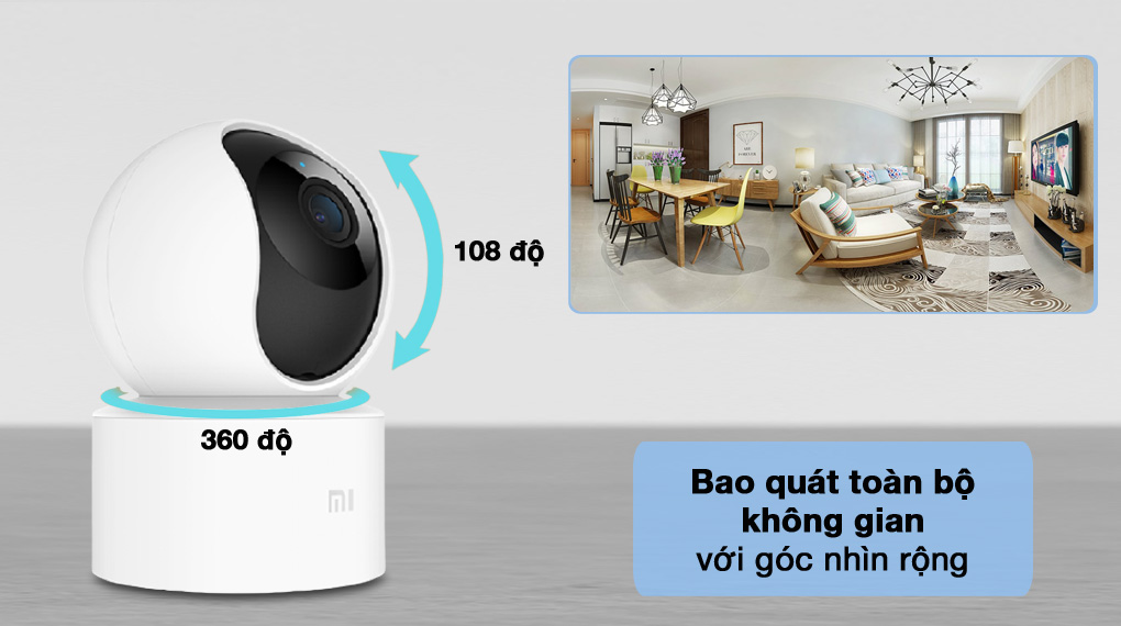 Bao quát tốt - Camera IP Mi Home 360 Độ 1080P Xiaomi BHR4885GL