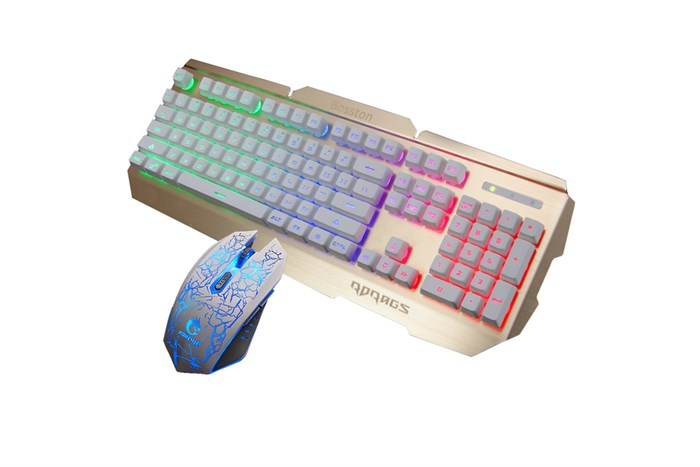 Combo Bosston R300W bàn phím giả cơ và chuột chuyên game full LED