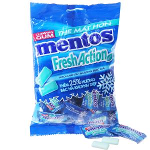 Kẹo cao su Mentos Fresh Action hương bạc hà gói 112g