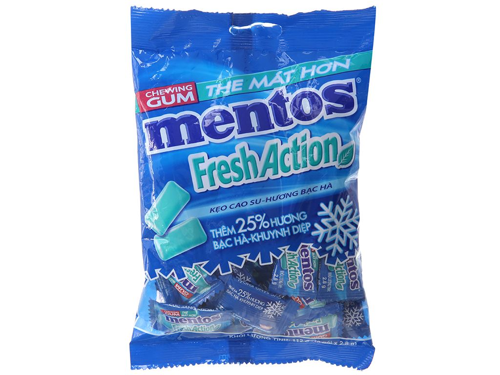 Kẹo cao su Mentos Fresh Action hương bạc hà gói 112g 1