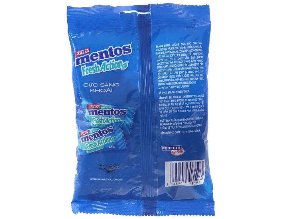 Kẹo cao su Mentos Fresh Action hương bạc hà gói 112g 2