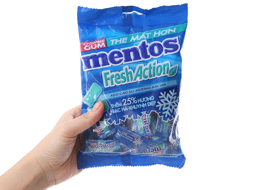 Kẹo cao su Mentos Fresh Action hương bạc hà gói 112g 3