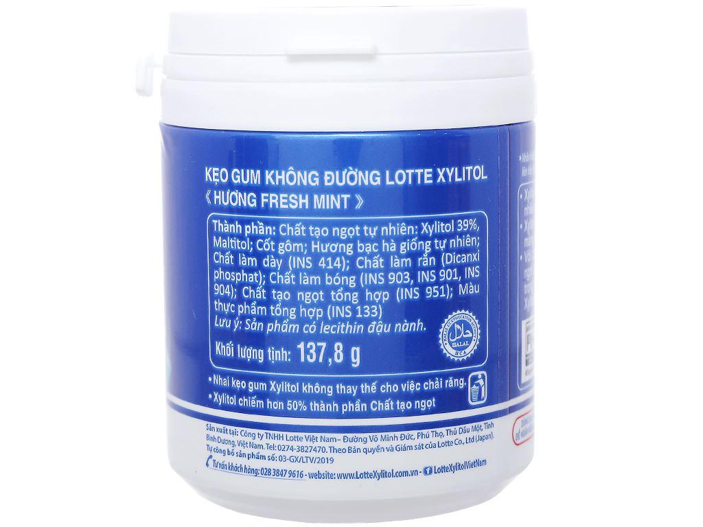 Kẹo gum không đường Lotte Xylitol hương Fresh Mint hũ 137.8g 2