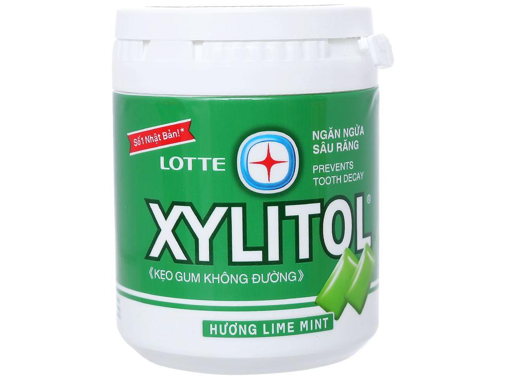 Kẹo gum không đường Lotte Xylitol hương Lime Mint hũ 137.8g 1