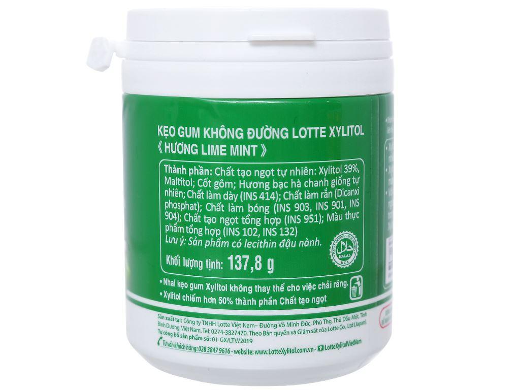 Kẹo gum không đường Lotte Xylitol hương Lime Mint hũ 137.8g 2