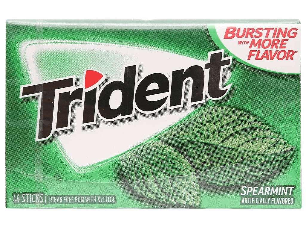 Kẹo gum không đường Trident hương bạc hà hộp 26.6g 1