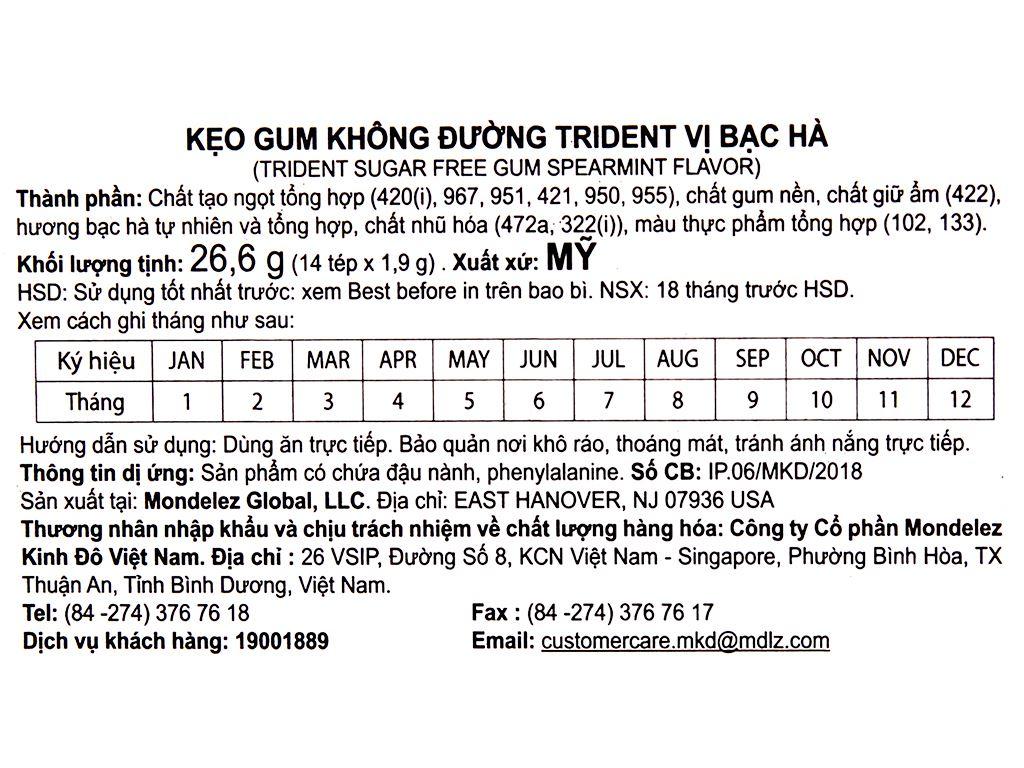 Kẹo gum không đường Trident hương bạc hà hộp 26.6g 3