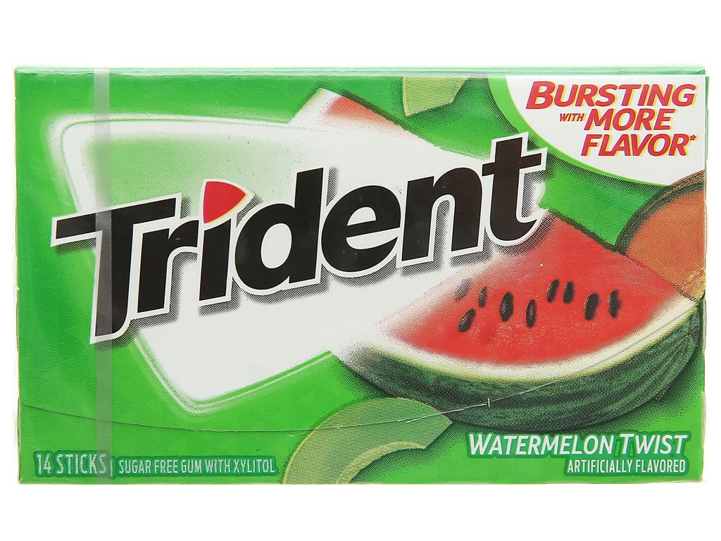 Kẹo gum không đường Trident hương dưa hấu hộp 26.6g 1