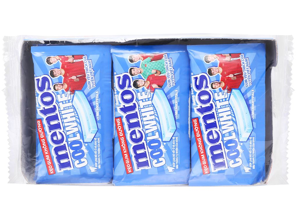 Kẹo gum không đường Mentos Coolwhite hương bạc hà hộp 127.5g 2