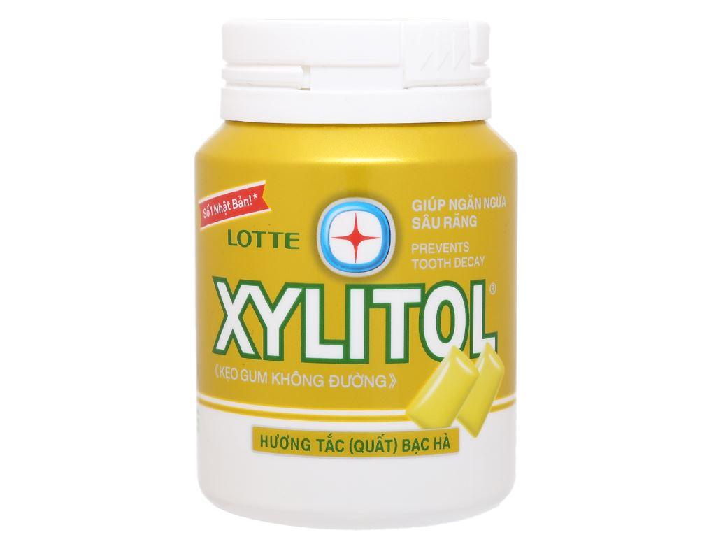Kẹo gum không đường Lotte Xylitol hương tắc bạc hà hũ 58g 1