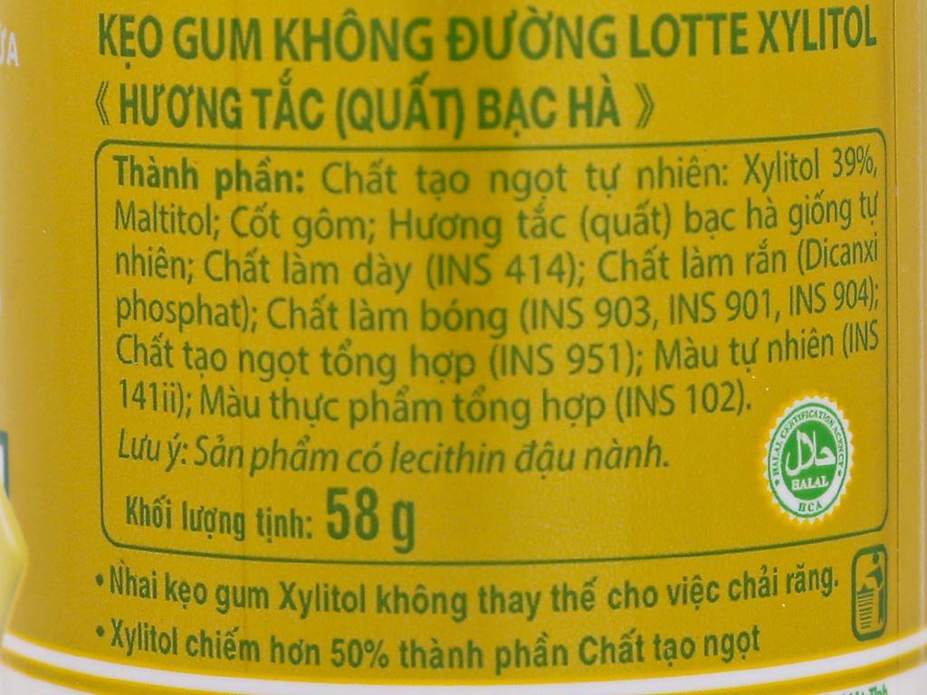 Kẹo gum không đường Lotte Xylitol hương tắc bạc hà hũ 58g 3