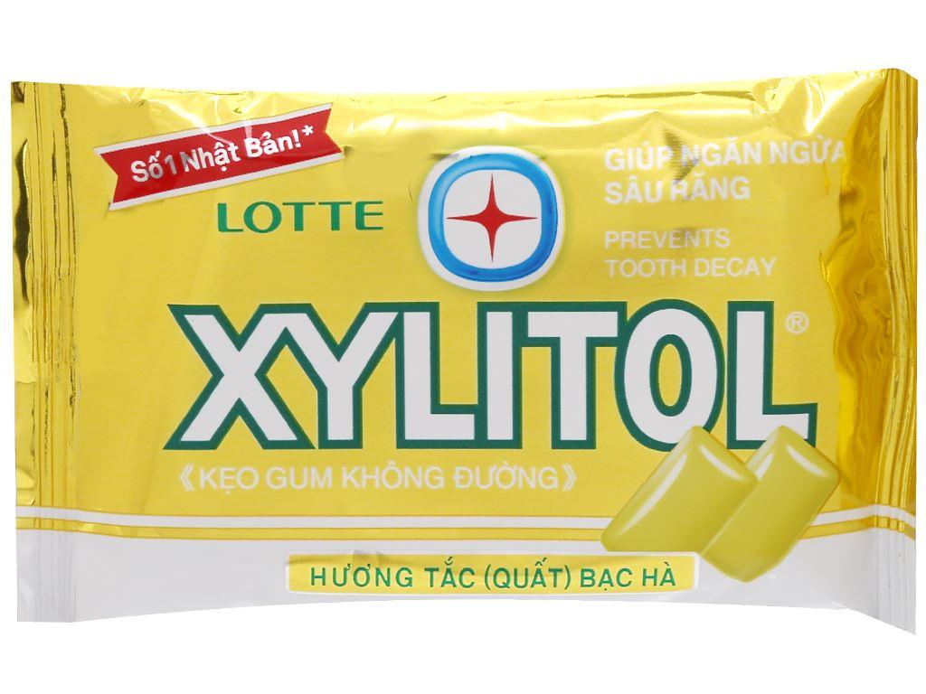 Kẹo gum không đường Lotte Xylitol hương tắc bạc hà vỉ 11.6g 1