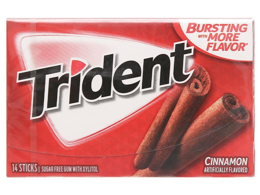 Kẹo gum không đường Trident hương quế vỉ 26.6g 1