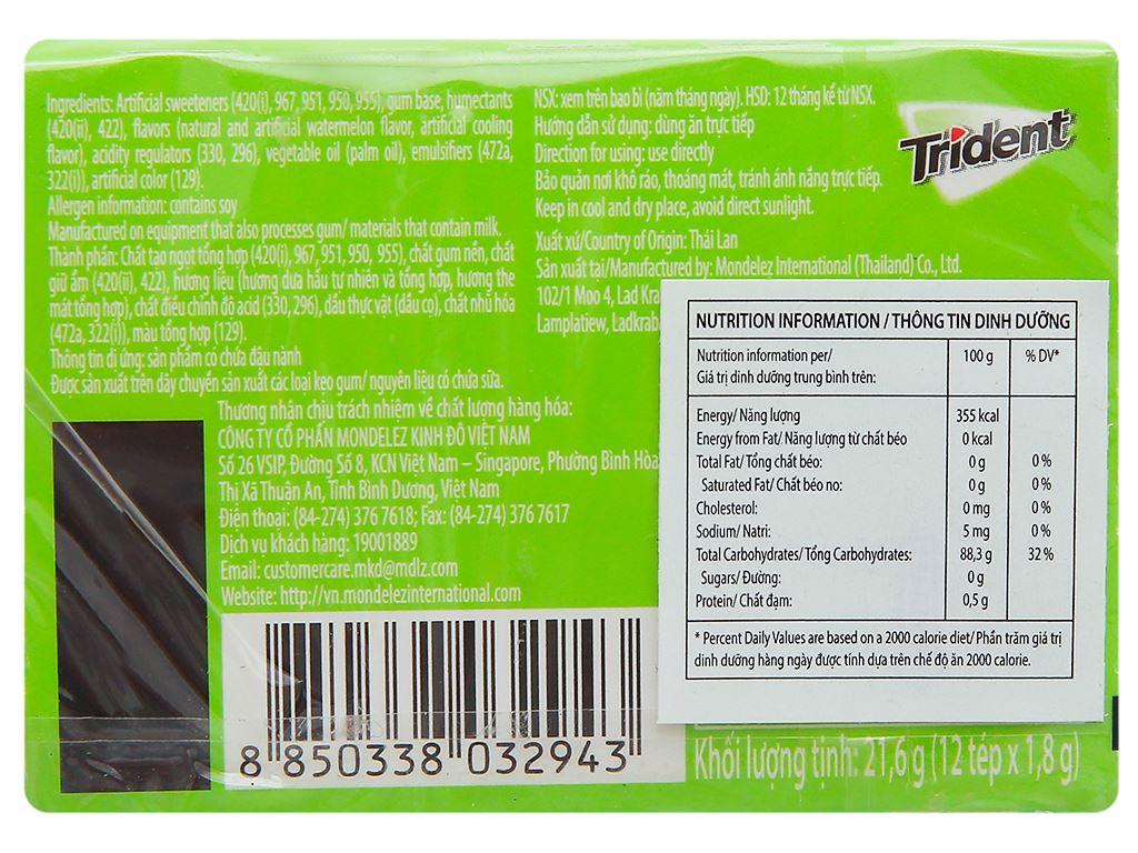 Kẹo gum Trident Ice hương dưa hấu hộp 21.6g 2
