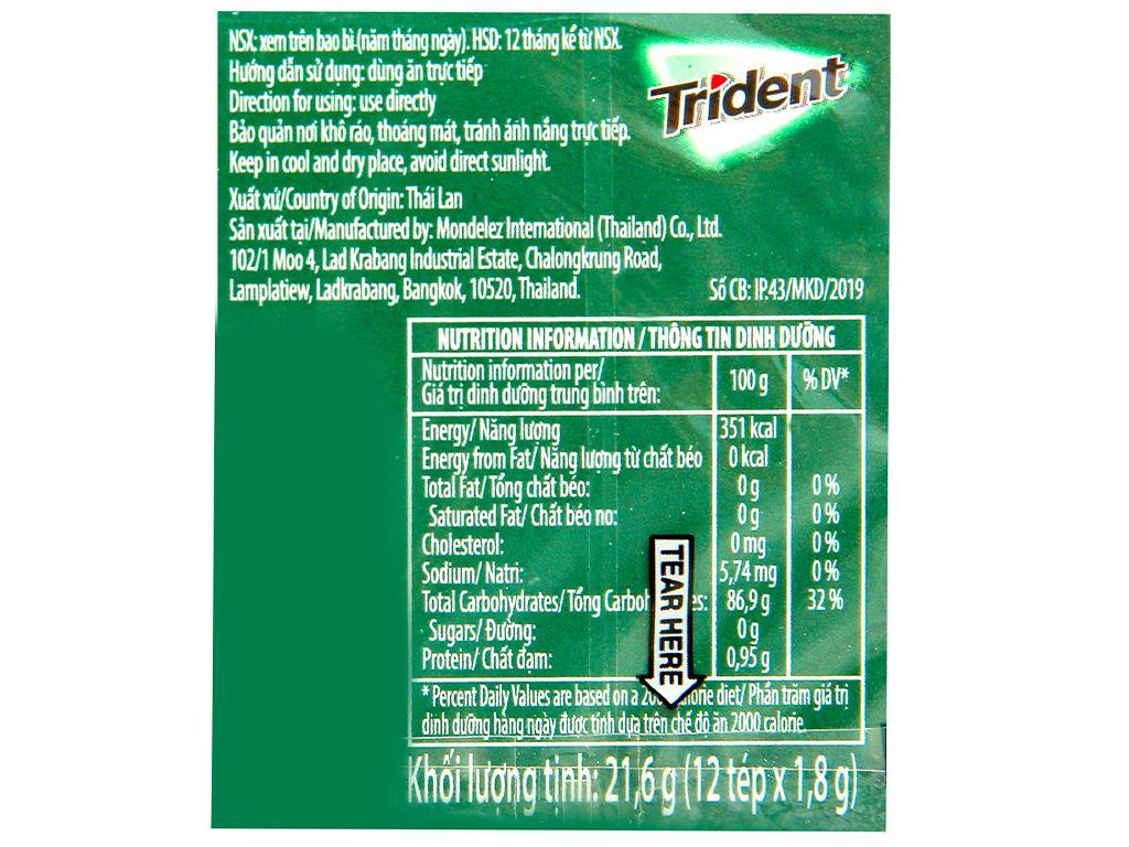 Kẹo gum Trident Ice hương bạc hà hộp 21.6g 2