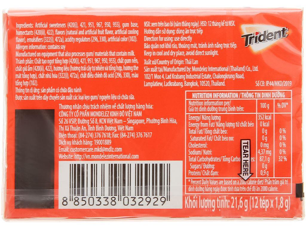 Kẹo gum Trident Ice vị trái cây nhiệt đới hộp 21.6g 2