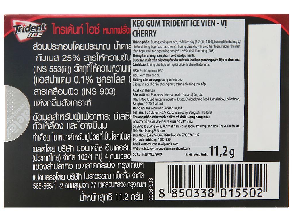 Kẹo gum Trident Ice vị cherry vỉ 11.2g 2