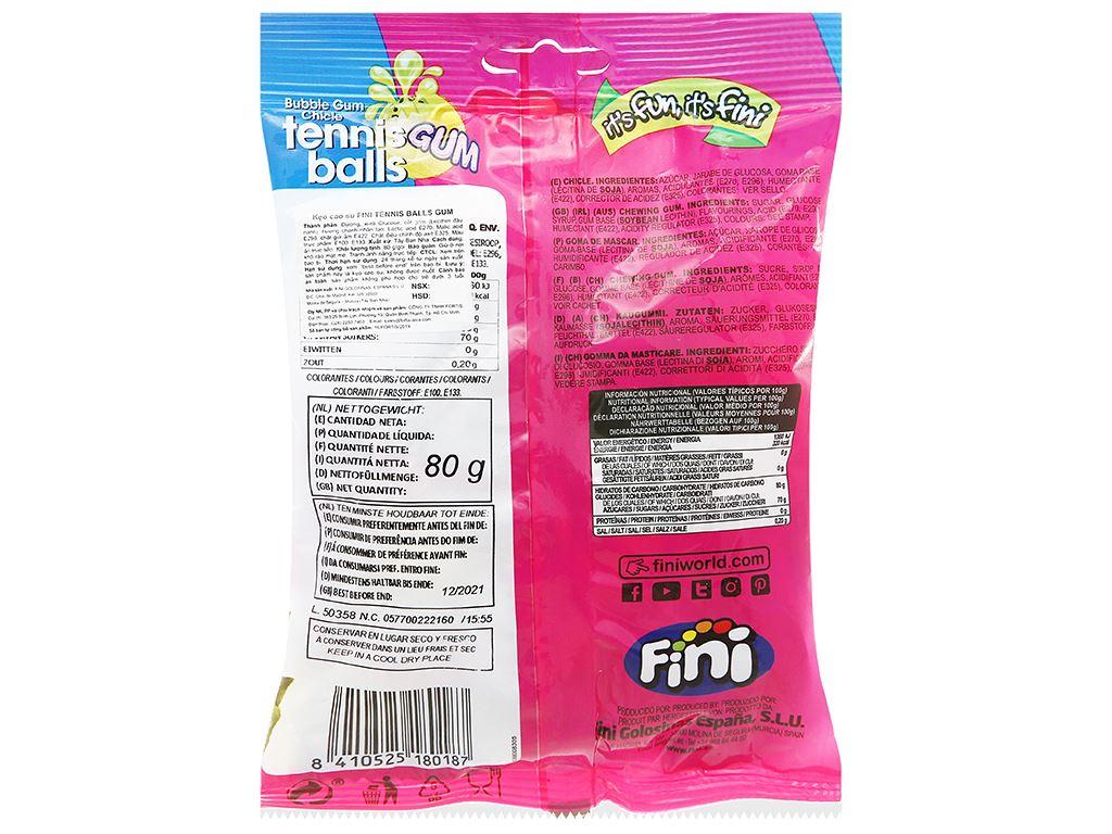 Kẹo cao su Fini Tennis Ball Gum gói 80g 2